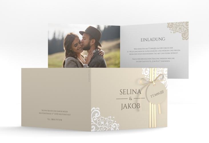 """Hochzeitseinladung """"Vintage"""" A6 Klappkarte Quer beige"""