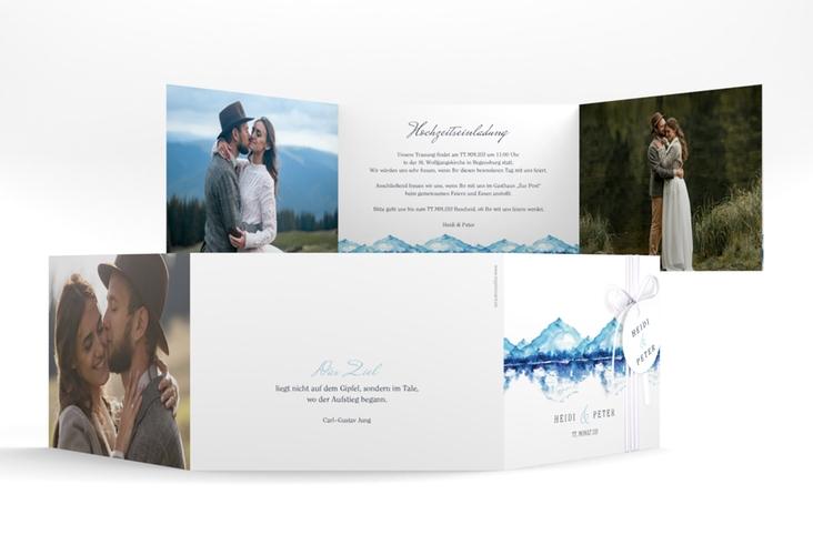 """Hochzeitseinladung """"Bergliebe"""" A6 doppelt geklappt blau"""