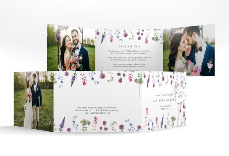 """Hochzeitseinladung """"Wildblumen"""" A6 doppelt geklappt"""