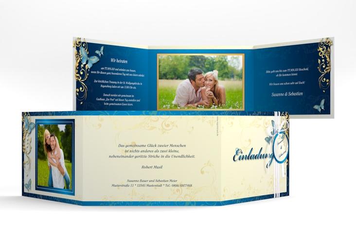 """Hochzeitseinladung """"Toulouse"""" A6 doppelt geklappt blau"""