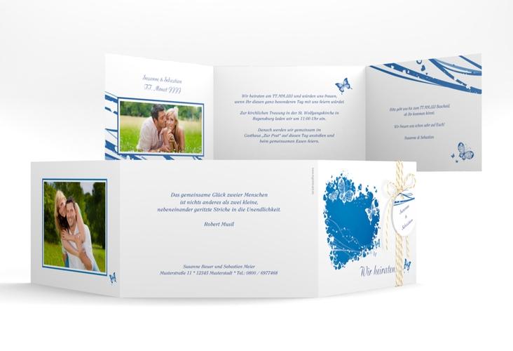 """Hochzeitseinladung """"Mailand"""" A6 doppelt geklappt blau"""