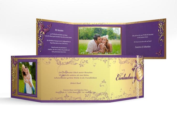 """Hochzeitseinladung """"Toulouse"""" A6 doppelt geklappt lila"""