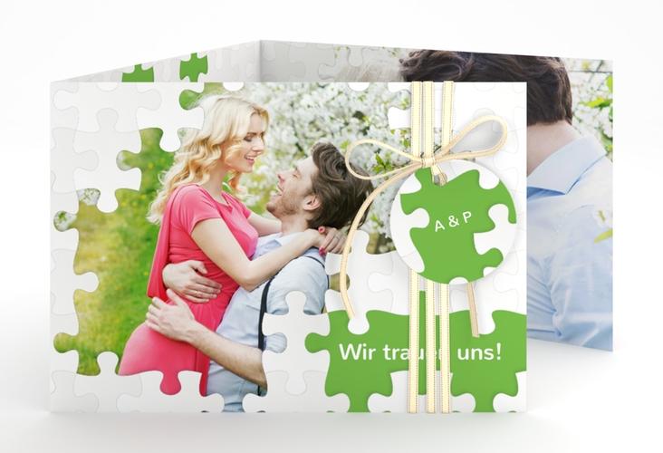 """Hochzeitseinladung """"Puzzle"""" A6 doppelt geklappt"""