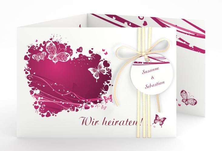 """Hochzeitseinladung """"Mailand"""" A6 doppelt geklappt pink"""