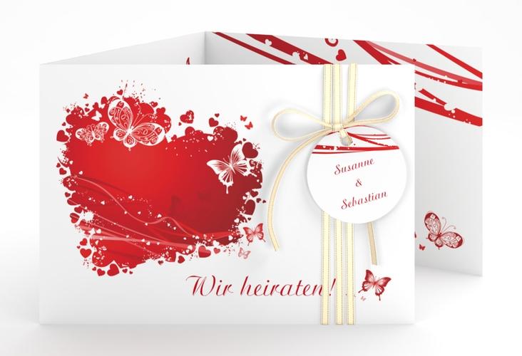 """Hochzeitseinladung """"Mailand"""" A6 doppelt geklappt rot"""