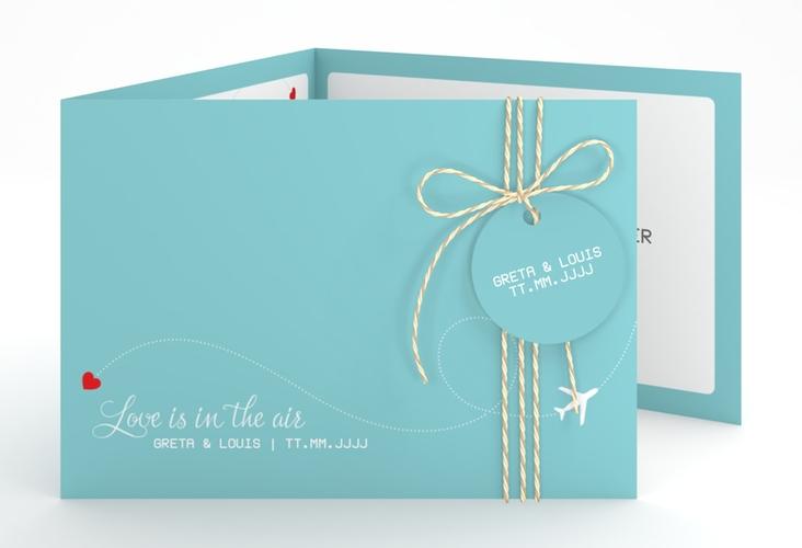 """Hochzeitseinladung """"Weddingpass"""" A6 doppelt geklappt blau"""