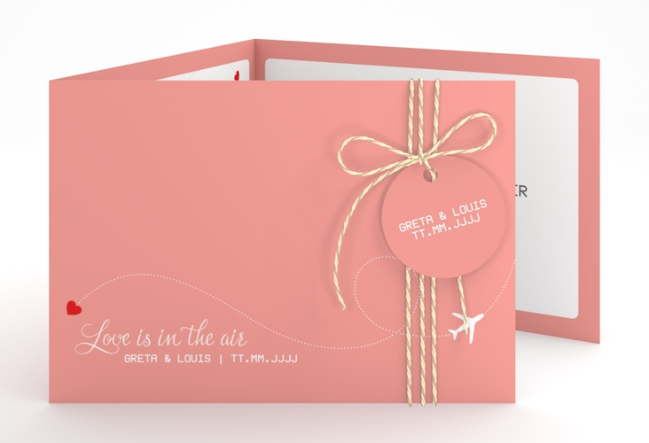 """Hochzeitseinladung """"Weddingpass"""" A6 doppelt geklappt rosa"""