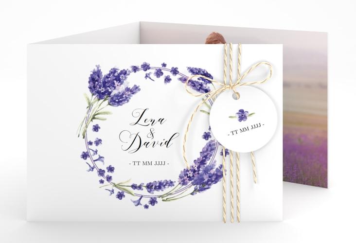 """Hochzeitseinladung """"Lavendel"""" A6 doppelt geklappt"""