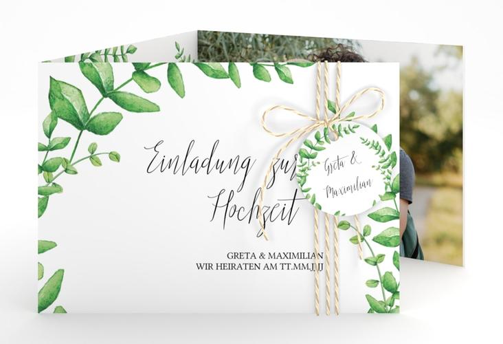 """Hochzeitseinladung """"Botanic"""" A6 doppelt geklappt weiss"""