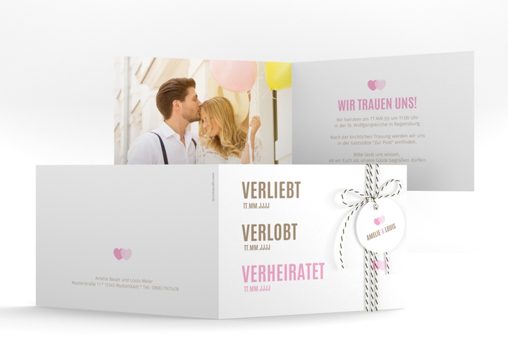 """Hochzeitseinladung """"Couple"""" A6 Klappkarte Quer"""