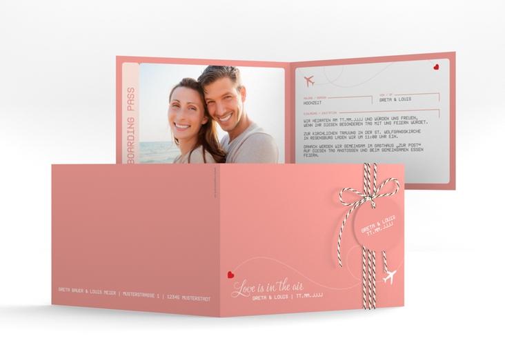 "Hochzeitseinladung ""Weddingpass"" A6 Klappkarte Quer rosa"