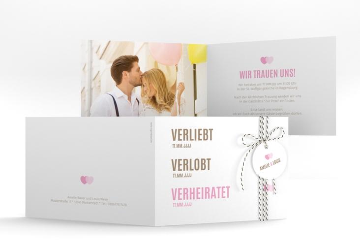 "Hochzeitseinladung ""Couple"" A6 Klappkarte Quer rosa"