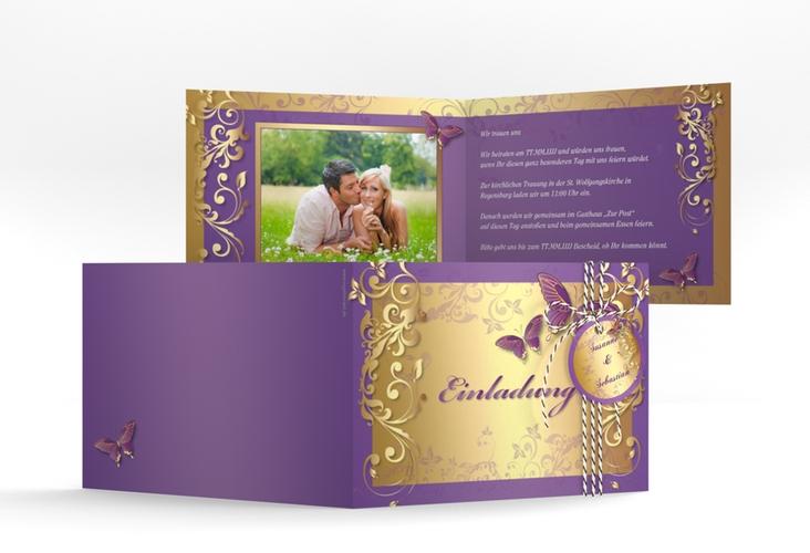 "Hochzeitseinladung ""Toulouse"" A6 Klappkarte Quer lila"