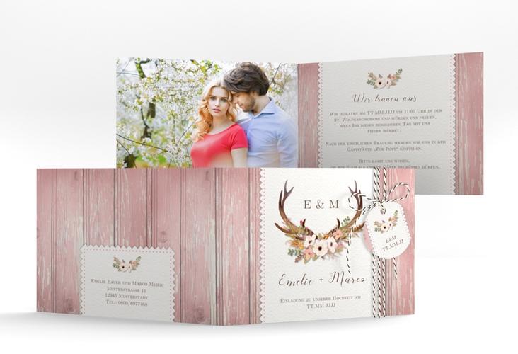 "Hochzeitseinladung ""Heimatjuwel"" A6 Klappkarte Quer rosa"