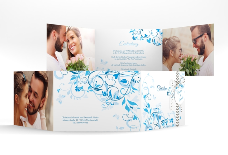 """Hochzeitseinladung """"Lilly"""" A6 doppelt geklappt blau"""