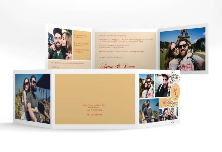 """Hochzeitseinladung """"Collage"""" A6 doppelt geklappt apricot"""