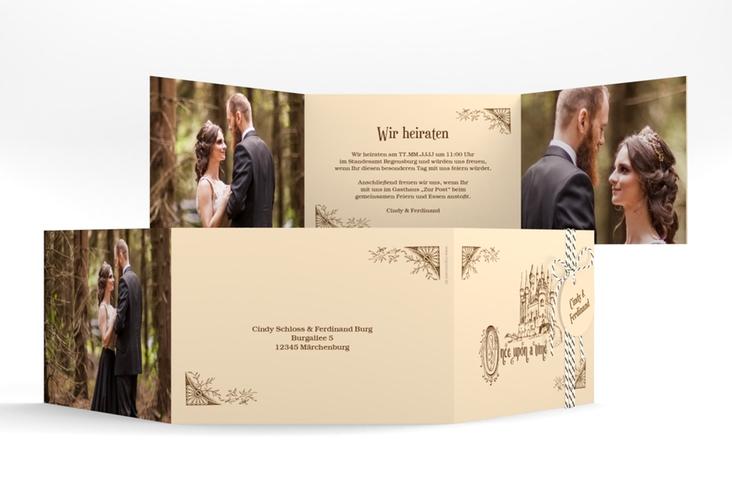 """Hochzeitseinladung """"Storybook"""" A6 doppelt geklappt"""