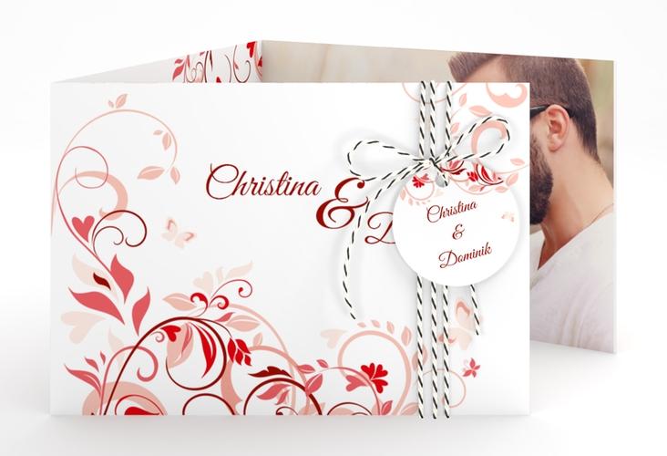 """Hochzeitseinladung """"Lilly"""" A6 doppelt geklappt rot"""