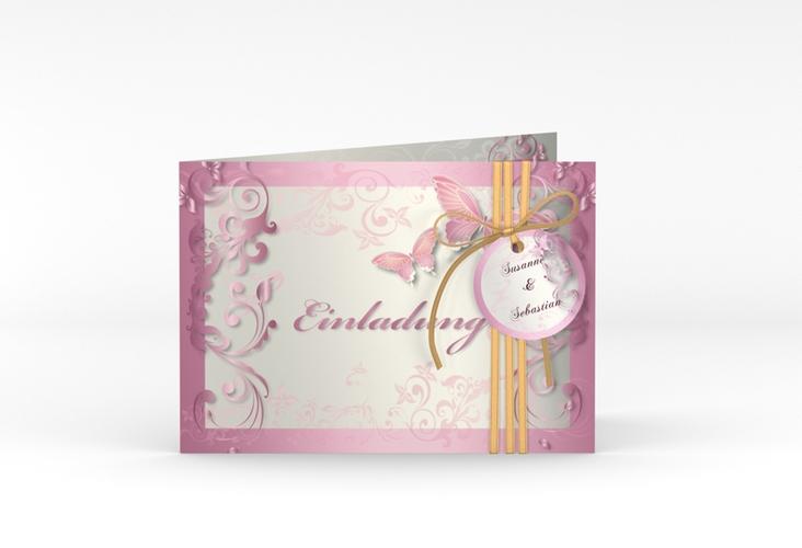 "Hochzeitseinladung ""Toulouse"" A6 Klappkarte Quer rosa"