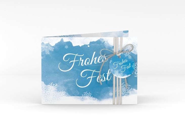 Weihnachtskarte Eisblume A6 Klappkarte Quer blau