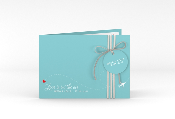 """Hochzeitseinladung """"Weddingpass"""" A6 Klappkarte Quer"""