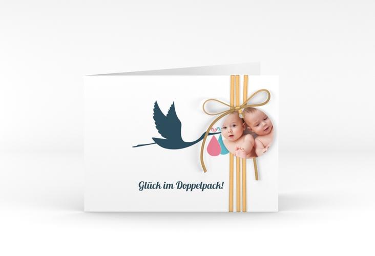 "Geburtskarte Zwillinge ""Doppelpack"" A6 Klappkarte Quer"