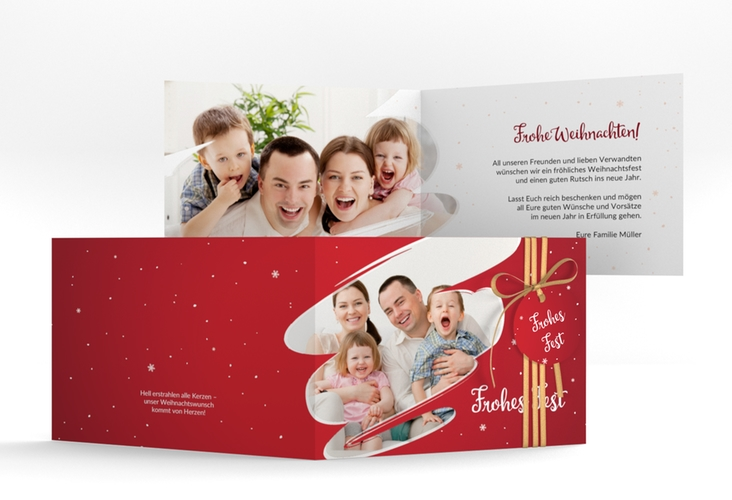 """Weihnachtskarte """"Ice"""" A6 Klappkarte Quer rot"""