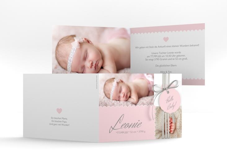 "Geburtskarte ""Serenity"" A6 Klappkarte Quer rosa"