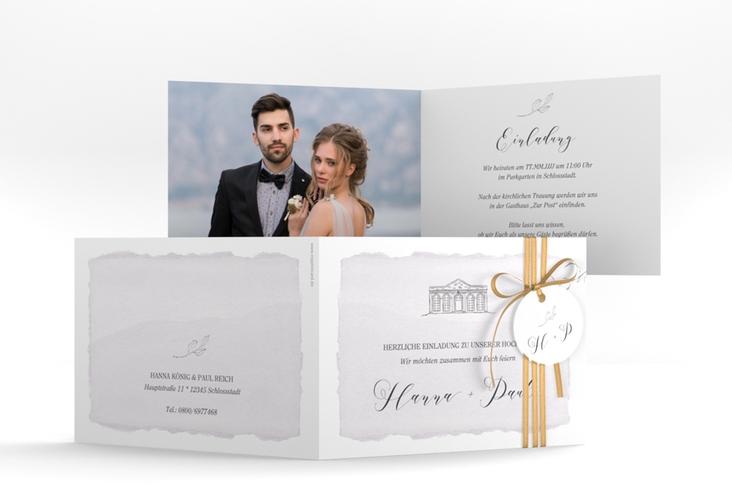 """Hochzeitseinladung """"Villa"""" A6 Klappkarte Quer flieder"""