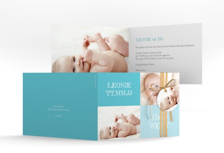 """Geburtskarte """"Freude"""" A6 Klappkarte Quer blau"""