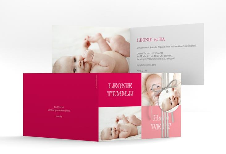 """Geburtskarte """"Freude"""" A6 Klappkarte Quer pink"""