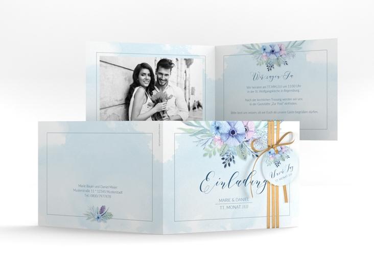 """Hochzeitseinladung """"Surfinia"""" A6 Klappkarte Quer blau"""