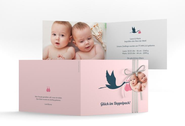 "Geburtskarte Zwillinge ""Doppelpack"" A6 Klappkarte Quer rosa"