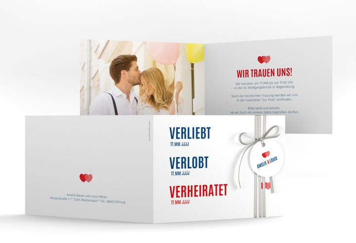 """Hochzeitseinladung """"Couple"""" A6 Klappkarte Quer rot"""