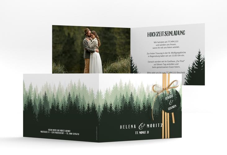 """Hochzeitseinladung """"Forest"""" A6 Klappkarte Quer gruen"""