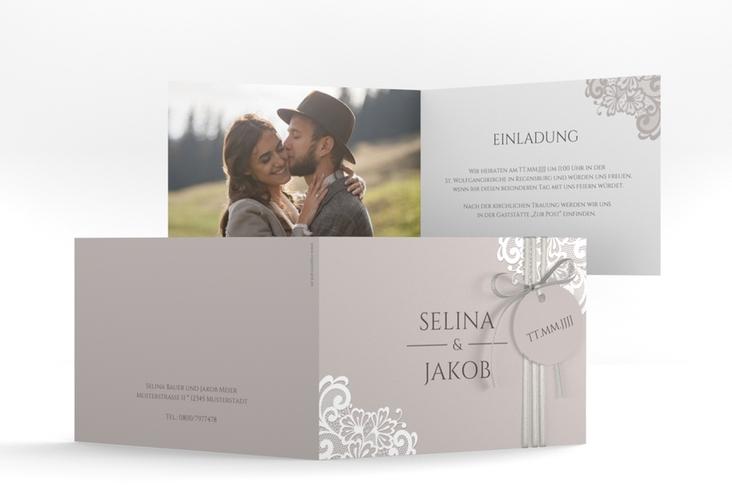 """Hochzeitseinladung """"Vintage"""" A6 Klappkarte Quer grau"""
