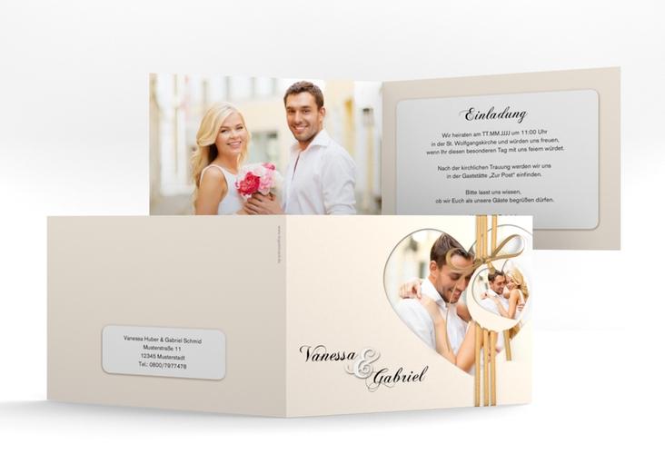 """Hochzeitseinladung """"Sweetheart"""" A6 Klappkarte Quer beige"""