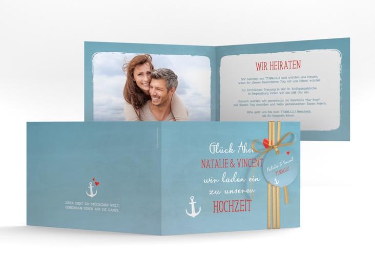 """Hochzeitseinladung """"Ehehafen"""" A6 Klappkarte Quer blau"""