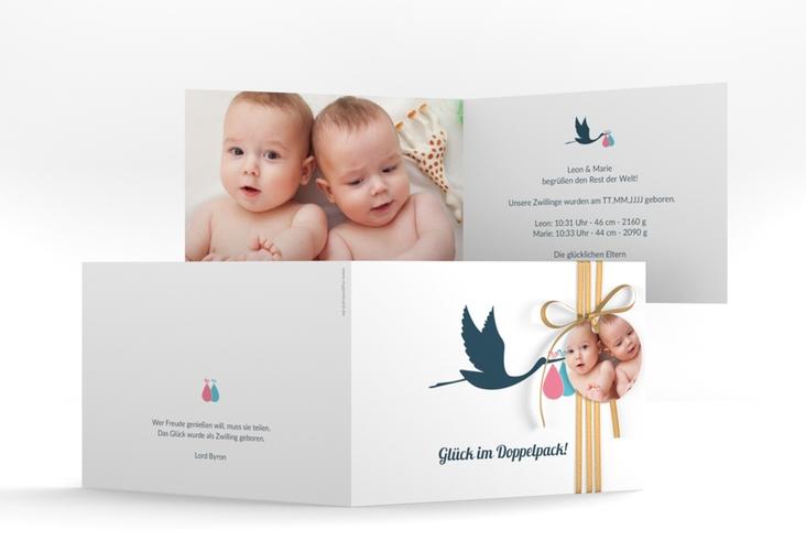 """Geburtskarte Zwillinge """"Doppelpack"""" A6 Klappkarte Quer weiss"""