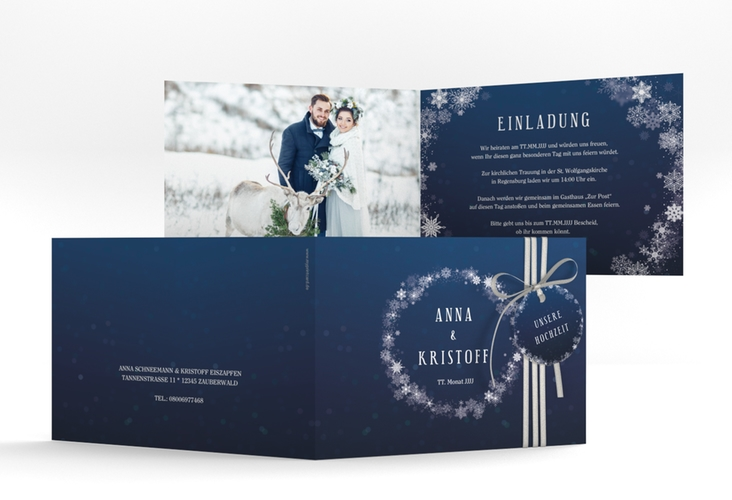 """Hochzeitseinladung """"Winterdream"""" A6 Klappkarte Quer"""