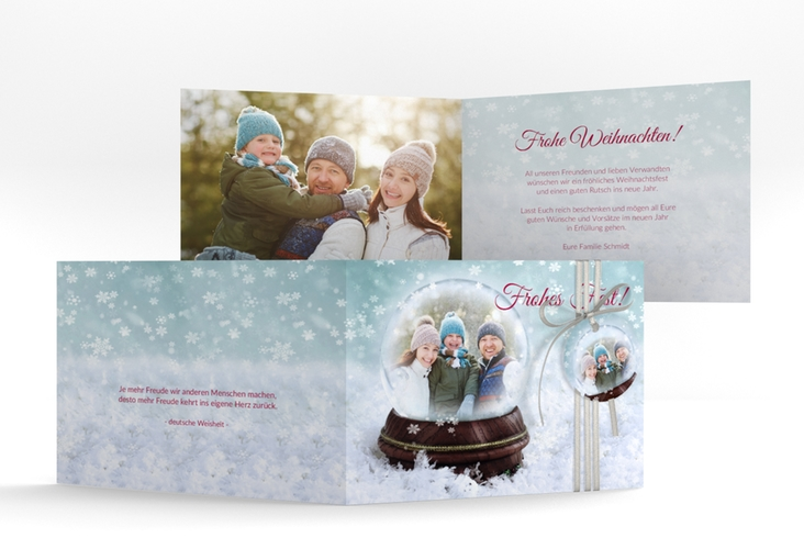 Weihnachtskarte Schneekugel A6 Klappkarte Quer