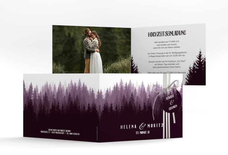 """Hochzeitseinladung """"Forest"""" A6 Klappkarte Quer lila"""