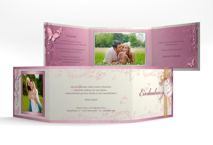 """Hochzeitseinladung """"Toulouse"""" A6 doppelt geklappt rosa"""