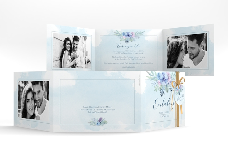 """Hochzeitseinladung """"Surfinia"""" A6 doppelt geklappt blau"""
