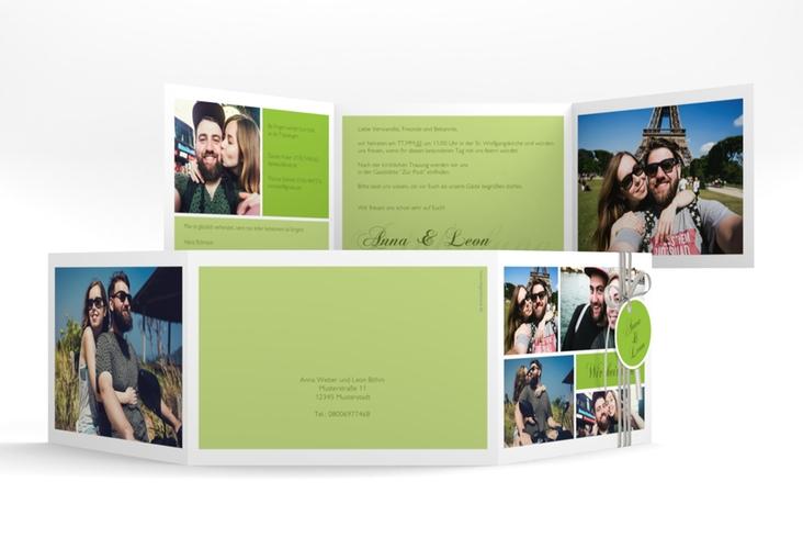 """Hochzeitseinladung """"Collage"""" A6 doppelt geklappt gruen"""