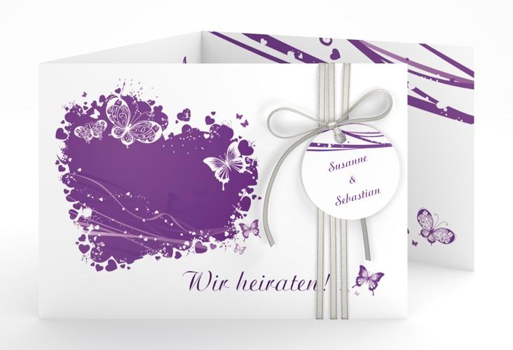 """Hochzeitseinladung """"Mailand"""" A6 doppelt geklappt lila"""