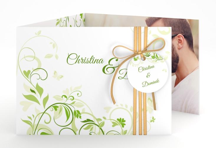 """Hochzeitseinladung """"Lilly"""" A6 doppelt geklappt gruen"""