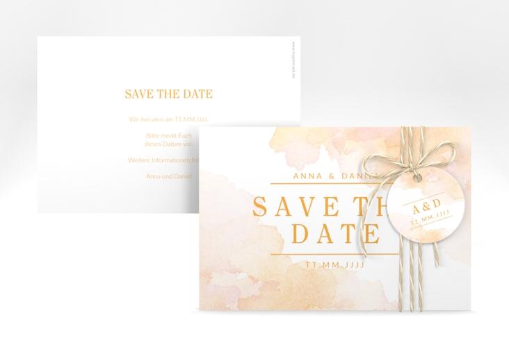 "Save the Date-Karte ""Blush"" A6 quer orange"