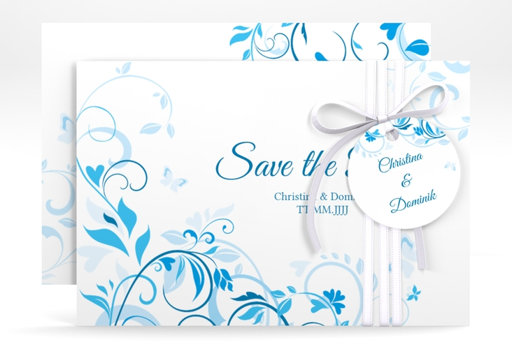 """Save the Date-Karte """"Lilly"""" A6 quer blau"""