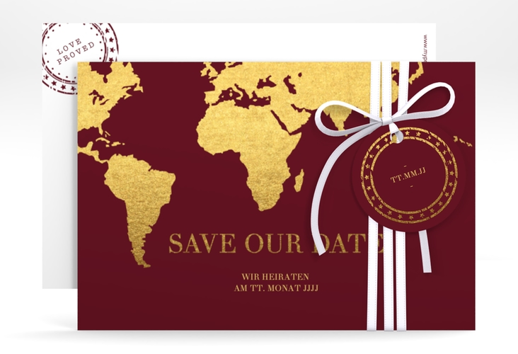 """Save the Date-Karte """"Traumziel"""" A6 quer rot"""
